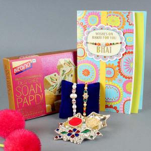 2 Rakhi , Soan Papdi and Greeting Card