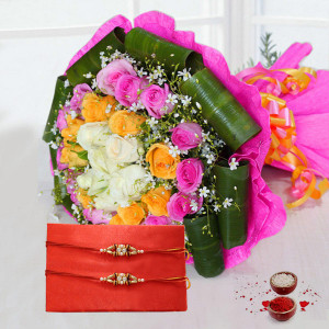 White,Yellow, Pink Roses in Pink Paper Packing and 2 Rakhi with Roli Chawal