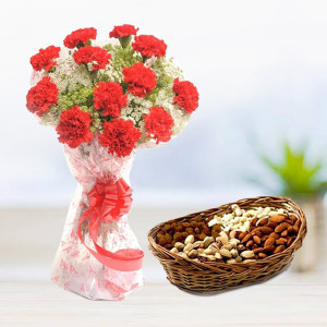 Carnation with Dryfruits