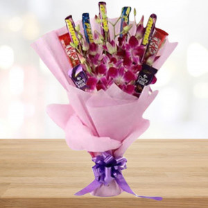 Flowers and Assorted Chocolate Bouquet