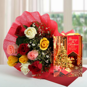 Mixed Roses N Greeting