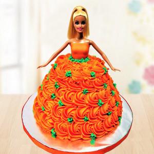 Orange Gown Barbie Cake