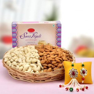Rakhi for bhaya n bhabi, soan papdi and dry fruits