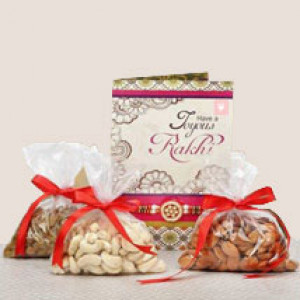 Rakhi, Dry Fruits with Greeting Card