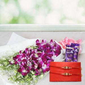 Rakhi , Orchids and Dairymilk Silk