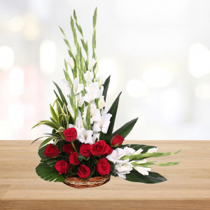 Red Roses & White Glads Basket