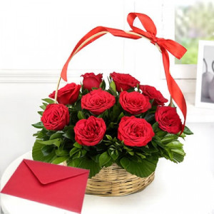 Red Rose Basket with Greeting Card