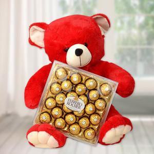 Stunning Teddy Bear with Chocolate