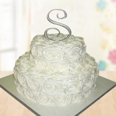 2 Tier Vanilla Rose Cake
