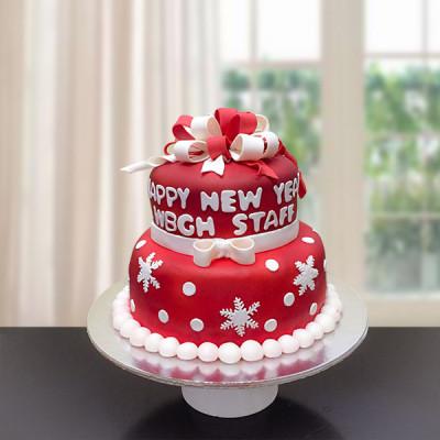 2 Tier New Year Fondant Cake