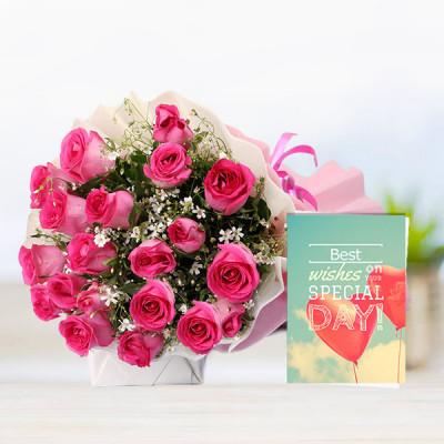 30 Pink Roses N Card