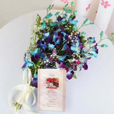 Blue Orchid With Card