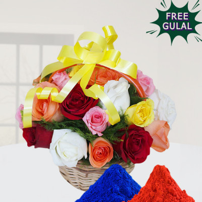Colourful Roses Basket