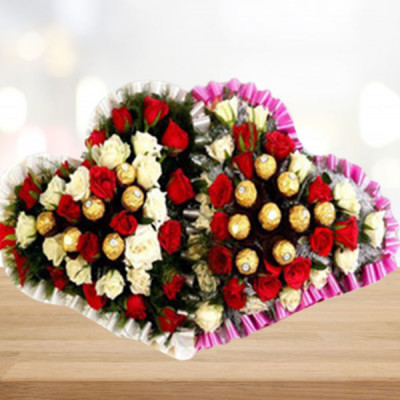 Double Heart Flower Chocolate Arrangement