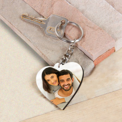 Heart Shape Wooden Key Chain