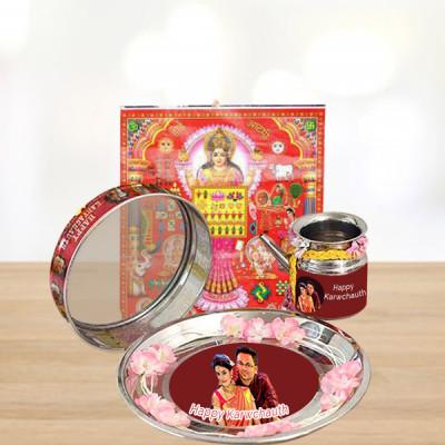 Personalised Karwa Chauth Thali with Calendar Combo