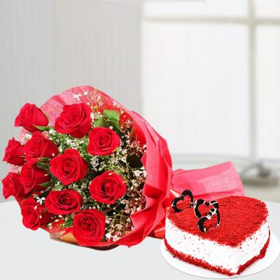 Red Velvet heart cake and Red Rose