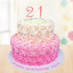 2 Tier Rose Cake