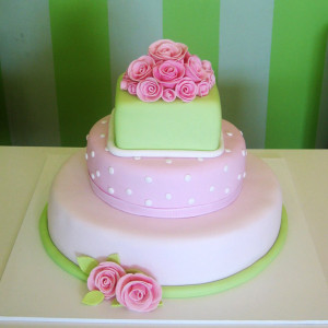3 Tier Pink and Green Cake with Roses