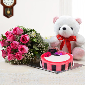 Amazing Roses and Teddy Combo