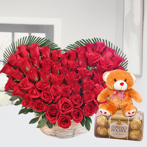 Basket of Roses with Teddy and Ferrero Rocher