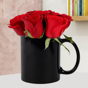 Black Mug With Red Roses