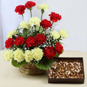 Carnation Basket with Dry Fruits