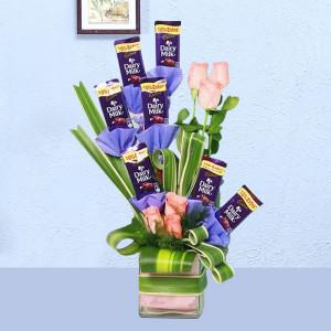 Dairy Milk N Roses Vase