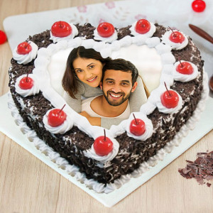 Heart Shaped Blackforest Photo Cake