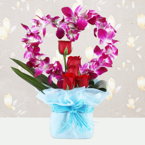 Heart Shaped Orchids and Roses Arrangement