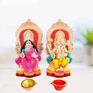Laxmi Ganesh Idol with Diya
