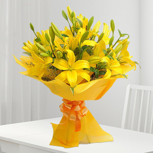 Bright Yellow Asiatic Lilies Bouquet