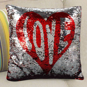 Lovely Heart Color Changing Sequined Cushion