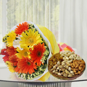 Mix Gerbera with Dry Fruits
