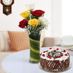 Mix Roses n Cake Combo