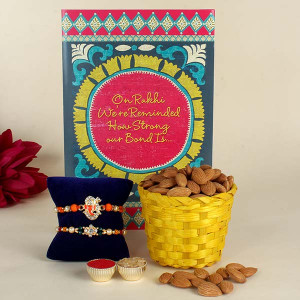 Rakhi, 100 gm Almonds with Greeting Card