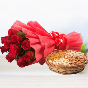 Red Rose with Dryfruits