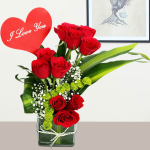 Vase Of Lovely Red Roses