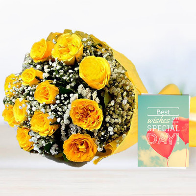 20 Yellow Roses N Card
