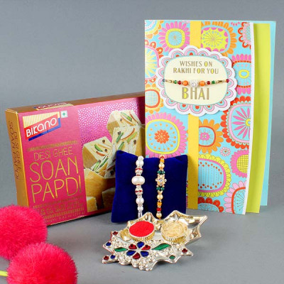 2 Rakhi , Soan Papdi and Greeting Card