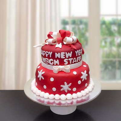 2 Tier New Year Fondant Cake