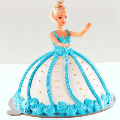 Blue Barbie Fondant Cake