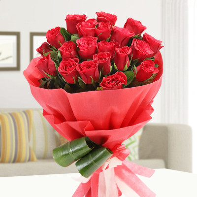 Bouquet of 20 Red Roses in Red Paper Packing