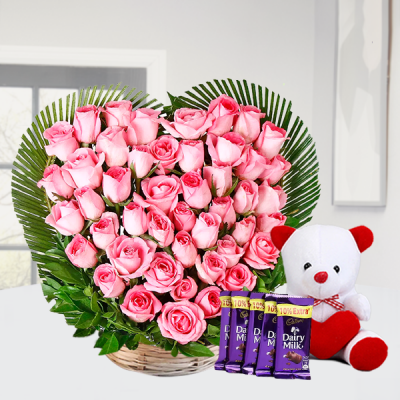 Bunch of Roses in Heart Shaped