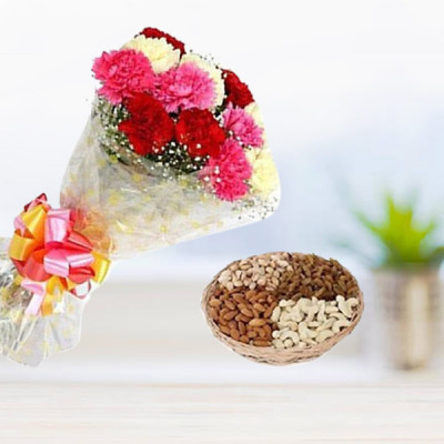 Dry Fruits with Mix Carnations