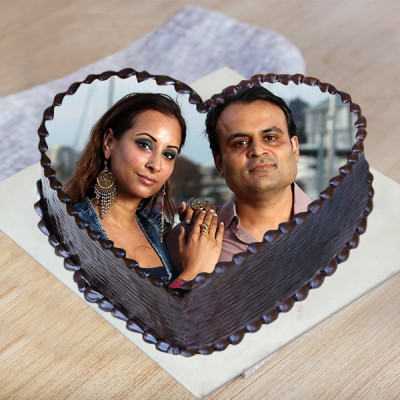 Heart Shape Truffle Photo Cake