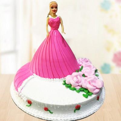 Pink Floral Barbie Cake