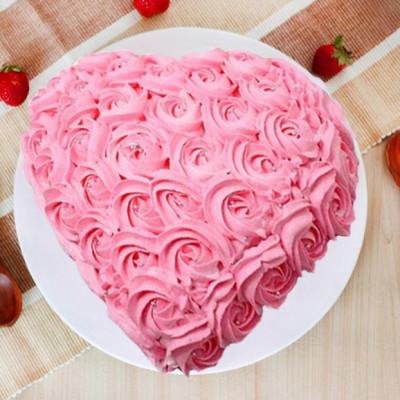 Pink Rose Heart Cake