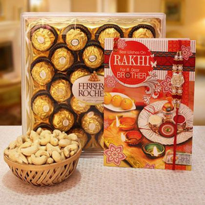 Rakhi, Ferrero Rocher,Cashew and Greeting card