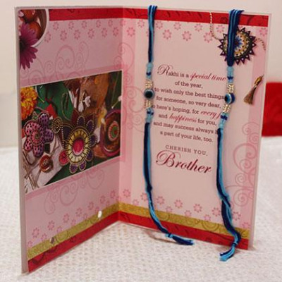 2 Rakhi with 1 Greeting Card